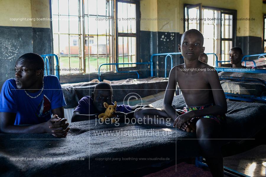UGANDA, Kampala, Kampiringisa, national rehabilitation center, a juvenile-detention facility for children and young people, sleeping rooms / Jugendhaftanstalt und Rehabilitationszentrum Kampiringisa, Schlafsaal