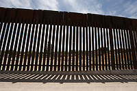 Sunland Park, NM - NEWS:   Ride along with Customs and Border Protection agents, Sunland Park, NM, Monday, April 29, 2019.<br /> <br /> <br /> PICTURED:  The border fence separating Mexico and the United States - Sunland Park, New Mexico.  The Mexican neighborhood of Rancho Anapra is on the other side of the fence.<br /> <br /> (Angel Chevrestt, 646.314.3206)