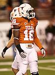 Texas Longhorns tight end D.J. Grant (18) in action during the Texas A & M vs. Texas Longhorns football game at the Darrell K Royal - Texas Memorial Stadium in Austin, Tx. Texas A & M defeats Texas 24 to 17....