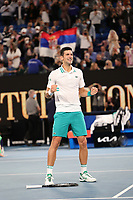 February 21, 2021: 1st seed Novak Djokovic of Serbia celebrates after defeating 4th seed Daniil Medvedev of the Russian Federation in the Men's Final match match on day 14 of the 2021 Australian Open on Rod Laver Arena, in Melbourne, Australia. Photo Sydney Low.