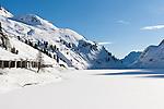 Italy, South Tyrol, Alto Adige - Trentino,  Lago Fedaia, reservoir at Fedaia pass road at the border to Veneto | Italien, Suedtirol: der Fedaiasee, ein Stausee auf der Passhoehe des Fedaiapasses, an der Grenze zu Venetien