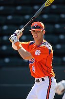 Freshman infielder Eli White (4) of the Clemson Tigers prior to the Reedy River Rivalry game against the South Carolina Gamecocks on March 1, 2014, at Fluor Field at the West End in Greenville, South Carolina. South Carolina won, 10-2.  (Tom Priddy/Four Seam Images)