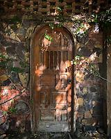 Wooden door of the Mona cafe of Oaxaca house in Hermosillo, Sonora<br /> <br /> Puerta de madera del cafe Mona de  casa Oaxaca en Hermosillo, Sonora