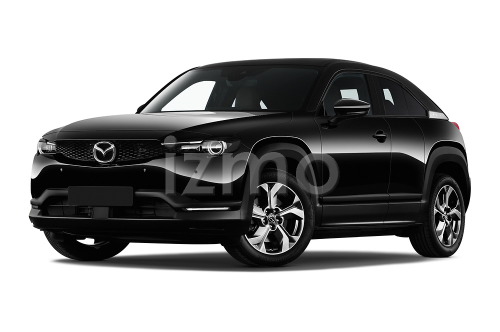 Stock pictures of low aggressive front three quarter view of 2021 Mazda MX-30 Skycruise 5 Door SUV Low Aggressive