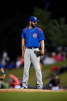 South Bend Cubs relief pitcher Jake Steffens (32) looks in for the sign during a game against the Kane County Cougars on July 21, 2018 at Northwestern Medicine Field in Geneva, Illinois.  South Bend defeated Kane County 4-2.  (Mike Janes/Four Seam Images)