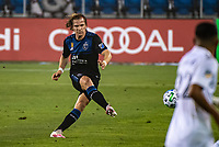 SAN JOSE, CA - SEPTEMBER 13: Florian Jungwirth #23 of the San Jose Earthquakes during a game between Los Angeles Galaxy and San Jose Earthquakes at Earthquakes Stadium on September 13, 2020 in San Jose, California.