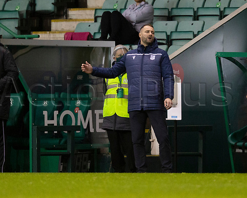 15th November 2020; Easter Road, Edinburgh, Scotland; Scottish League Cup Football, Hibernian versus Dundee FC; Dundee manager James McPake shows his frustration