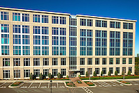 "Photography of Charlotte NC's Ballantyne Corporate Park, a 535-acre master-planned office and business community located south of Charlotte in Ballantyne, NC. Image is of the Hayes Building, one of Charlotte's first ""green"" speculative building, according to the Ballantyne Corporate Park. Photo was taken on a weekend in order to show the building without vehicles in the parking lot. The Hayes building is home to Mitsubishi Nuclear Energy Systems."