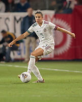 CARSON, CA - FEBRUARY 7: Jimena Lopez #5 of Mexico looks for an open man during a game between Mexico and USWNT at Dignity Health Sports Park on February 7, 2020 in Carson, California.
