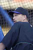Mark Grace of the Arizona Diamondbacks before a 2002 MLB season game against the Los Angeles Dodgers at Dodger Stadium, in Los Angeles, California. (Larry Goren/Four Seam Images)