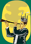 Businessman searching with a hand held telescope