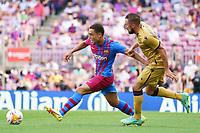 26th September 2021; Nou Camp, Barcelona, Spain: La Liga football, FC Barcelona versus Levante:  Dest goes past Jorge Miramon