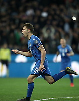 Football: Euro 2020 Group J qualifying football match Italy vs Finland at the Friuli Stadium in Udine on march  23, 2019<br /> Italy's Nicolò Barella celebrates after scoring during the Euro 2020 qualifying football match between Italy and Finland at the Friuli Stadium in Udine, on march 23, 019<br /> UPDATE IMAGES PRESS/Isabella Bonotto