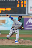 Raul Alcantara (26) of the Stockton Ports pitches during a game against the Rancho Cucamonga Quakes at LoanMart Field on June 13, 2015 in Rancho Cucamonga, California. Stockton defeated Rancho Cucamonga, 14-2. (Larry Goren/Four Seam Images)