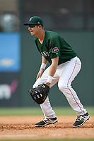First baseman Michael Osinski (17) of the Greenville Drive plays defense in a game against the Asheville Tourists on Sunday, June 3, 2018, at Fluor Field at the West End in Greenville, South Carolina. Greenville won, 7-6. (Tom Priddy/Four Seam Images)
