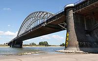 Nederland  Nijmegen  - September 2020 .   De Waalbrug. Laag water. De brug wordt gerenoveerd.  Foto : ANP/ Hollandse Hoogte / Berlinda van Dam