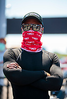 Aug 8, 2020; Clermont, Indiana, USA; NHRA top fuel driver Antron Brown wears a face mask covering during qualifying for the Indy Nationals at Lucas Oil Raceway. Mandatory Credit: Mark J. Rebilas-USA TODAY Sports