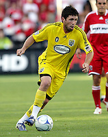 Columbus Crew midfielder Danny O'Rourke (5) dribbles the ball.  The Chicago Fire tied the Columbus Crew 0-0 at Toyota Park in Bridgeview, IL on July 11, 2009.