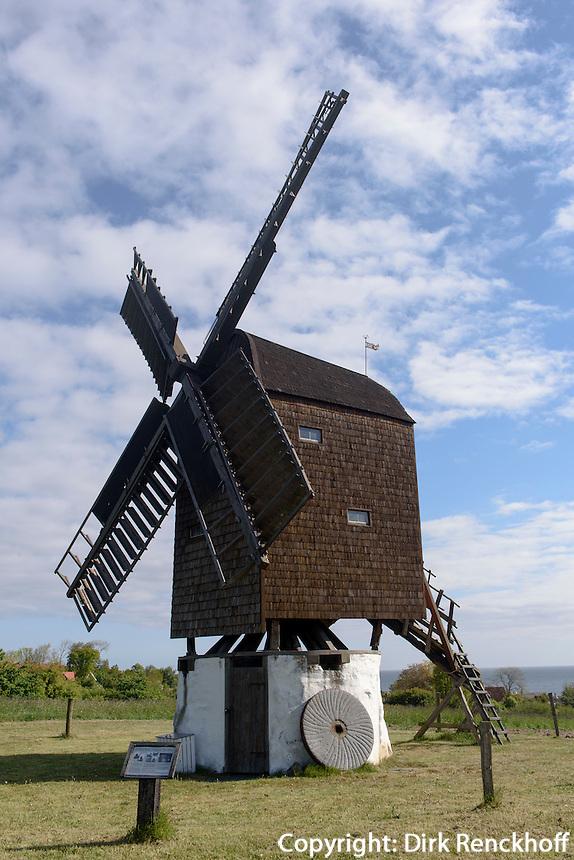 "Bockwindmühle ""Tejn-Stubmølle""  in Gudhjem auf der Insel Bornholm, Dänemark, Europa<br /> post mill ""Tejn-Stubmølle""  in Gudhjem, Isle of Bornholm Denmark"