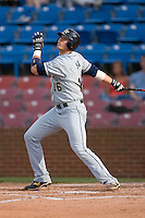 Matt Skole #16 of the Georgia Tech Yellow Jackets follows through on his swing versus the Wake Forest Demon Deacons at Wake Forest Baseball Park April 18, 2009 in Winston-Salem, NC. (Photo by Brian Westerholt / Four Seam Images)