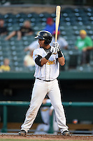 South Bend Silver Hawks catcher Michael Perez (7) at bat during a game against the Dayton Dragons on August 20, 2014 at Four Winds Field in South Bend, Indiana.  Dayton defeated South Bend 5-3.  (Mike Janes/Four Seam Images)