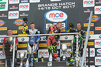 Shane Byrne of Be Wiser Ducati Racing Team blows a kiss to his family after winning race two of the MCE British Superbikes in Association with Pirelli in round 12 2017 - BRANDS HATCH (GP) at Brands Hatch, Longfield, England on 15 October 2017. Photo by Alan  Stanford / PRiME Media Images.