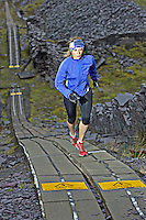 Sarah Ridgeway on her morning training run in the abandoned slate quarries in North Wales
