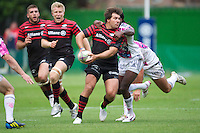 20120823 Copyright onEdition 2012©.Free for editorial use image, please credit: onEdition..Schalk Brits of Saracens is tackled by Paul Sackey of Stade Francais Paris at The Honourable Artillery Company, London in the pre-season friendly between Saracens and Stade Francais Paris...For press contacts contact: Sam Feasey at brandRapport on M: +44 (0)7717 757114 E: SFeasey@brand-rapport.com..If you require a higher resolution image or you have any other onEdition photographic enquiries, please contact onEdition on 0845 900 2 900 or email info@onEdition.com.This image is copyright the onEdition 2012©..This image has been supplied by onEdition and must be credited onEdition. The author is asserting his full Moral rights in relation to the publication of this image. Rights for onward transmission of any image or file is not granted or implied. Changing or deleting Copyright information is illegal as specified in the Copyright, Design and Patents Act 1988. If you are in any way unsure of your right to publish this image please contact onEdition on 0845 900 2 900 or email info@onEdition.com