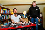 Musician Jack O'Rourke recording the song Opera on the top floor, in memory of the late Michael O'Connor and also in the photo is Aidan O'Connor, nephew of the late Michael at Mike the Pies in Listowel on Friday night.