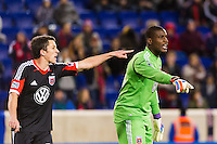 D. C. United goalkeeper Bill Hamid (28) and Lewis Neal (24). D. C. United defeated the New York Red Bulls 1-0 (2-1 in aggregate) during the second leg of the MLS Eastern Conference Semifinals at Red Bull Arena in Harrison, NJ, on November 8, 2012.