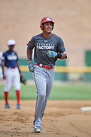 Bayron Lora (15) rounds the bases after hitting a home run during the Dominican Prospect League Elite Underclass International Series, powered by Baseball Factory, on August 31, 2017 at Silver Cross Field in Joliet, Illinois.  (Mike Janes/Four Seam Images)