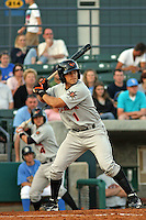 Greg Miclat #1 of the Frederick Keys batting in a game against the Myrtle Beach Pelicans on April 30, 2010 in Myrtle Beach, SC.