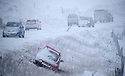 29/01/19<br /> <br /> Vehicles struggle to get up the A53 near Axe Edge as heavy snow begins to fall between Buxton and Leek in Derbyshire.<br /> <br /> <br /> All Rights Reserved, F Stop Press Ltd +44 (0)7765 242650  www.fstoppress.com rod@fstoppress.com