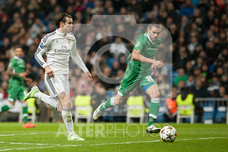 Gareth Bale of Real Madrid during Champions League match between Real Madrid and Ludogorets at Santiago Bernabeu Stadium in Madrid, Spain. December 09, 2014. (ALTERPHOTOS/Luis Fernandez)