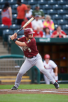 Frisco RoughRiders designated hitter Patrick Cantwell (3) at bat during a game against the Springfield Cardinals on June 3, 2015 at Hammons Field in Springfield, Missouri.  Springfield defeated Frisco 7-2.  (Mike Janes/Four Seam Images)