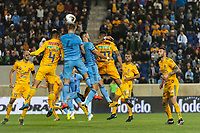 HARRISON, NJ - MARCH 11: Maxime Chanot #4 of NYCFC goes up for a header with Hugo Ayala #4 of Tigres UANL during a game between Tigres UANL and NYCFC at Red Bull Arena on March 11, 2020 in Harrison, New Jersey.