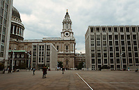 London:  Paternoster Square--looking towards St. Paul's.  Photo '90.