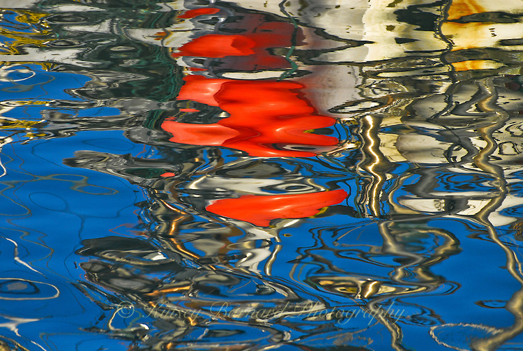 """""""MANIAC""""<br /> <br /> Only a crazy person or a crazy artist could come up with the colorful designs in this photograph made by boat reflections on the harbor water in Morro Bay. So call Nature crazy. She's the one that did it!<br /> <br /> Boat masts and fishing buoys create a crazy yet intriguing pattern of beautiful designs on the reflective waters of Morro Bay Harbor, California <br /> <br /> The original giclee on canvas is available for purchase. Contact Kinsey Barnard for more information.<br /> <br /> Limited edition (50) fine art paper prints are available directly from this site."""