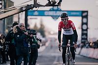 Tiesj Benoot (BEL/Lotto-Soudal) crossing the finish line<br /> <br /> Omloop Het Nieuwsblad 2018<br /> Gent › Meerbeke: 196km (BELGIUM)