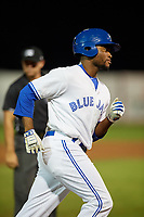Bluefield Blue Jays left fielder D.J. Daniels (6) rounds the bases after hitting a home run in the bottom of the seventh inning during a game against the Bristol Pirates on July 26, 2018 at Bowen Field in Bluefield, Virginia.  Bristol defeated Bluefield 7-6.  (Mike Janes/Four Seam Images)