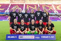 ORLANDO, FL - FEBRUARY 21: CANWNT starting XI before a game between Argentina and Canada at Exploria Stadium on February 21, 2021 in Orlando, Florida.