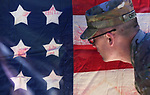 Nevada Army National Guard Sgt. Mike Orton checks out a 36 star Union Infantry Battle Flag following the 19th Annual Flag Day Ceremony & U.S. Army Birthday ceremony at the Nevada Veterans Memorial in Carson City, Nev. on Wednesday, June 14, 2017. <br />Photo by Cathleen Allison/Nevada Photo Source