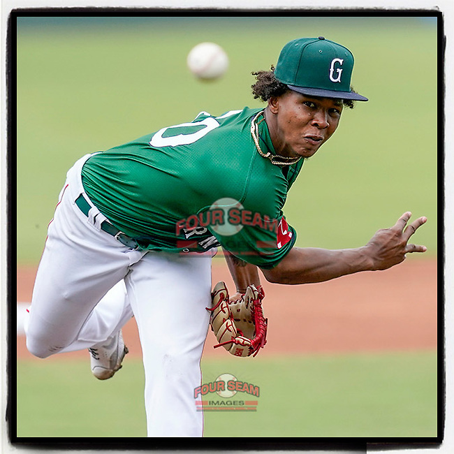 """Red Sox and former Greenville Drive pitching prospect Brayan Bello is No. 15 in Baseball America's Hot Sheet: Baseball's 20 Hottest Prospects From The Past Week. """"Bello continued his breakthrough year with another strong start last week to improve to 5-0, 2.20 on the season between High-A and Double-A,"""" they wrote. Photo from a game against the Asheville Tourists on Sunday, June 6, 2021, at Fluor Field at the West End in Greenville, South Carolina. (Tom Priddy/Four Seam Images) #milb"""