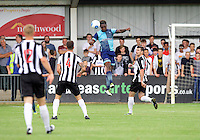 Anthony Stewart of Wycombe Wanderers heads the ball clear during the Friendly match between Maidenhead United and Wycombe Wanderers at York Road, Maidenhead, England on 30 July 2016. Photo by Alan  Stanford PRiME Media Images.