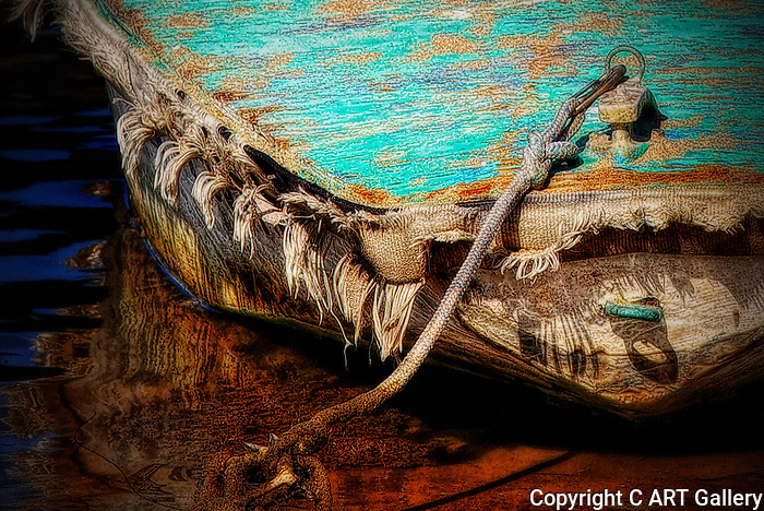 Boat tied to shore, Balboa Island, CA.