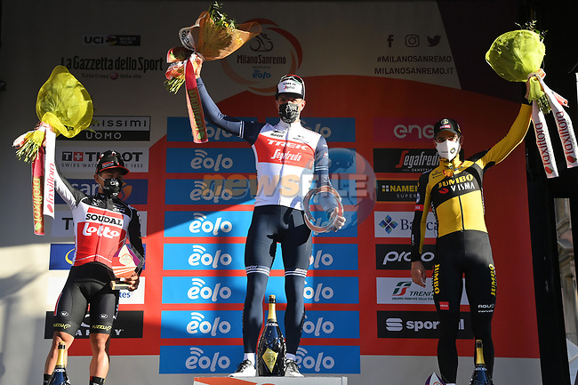 Jasper Stuyven (BEL) Trek-Segafredo wins the 112th edition of Milan-San Remo 2021, with Caleb Ewan (AUS) Lotto Soudal in 2nd place and Wout Van Aert (BEL) Jumbo-Visma 3rd, running 299km from Milan to San Remo, Italy. 20th March 2021.<br /> Photo: LaPresse/Gian Mattia D'Alberto | Cyclefile<br /> <br /> All photos usage must carry mandatory copyright credit (© Cyclefile | LaPresse/Gian Mattia D'Alberto)