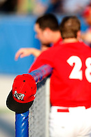 August 16, 2009:  Muckdogs hat on the fence during a game at Dwyer Stadium in Batavia, NY.  The Muckdogs are the Short-Season Class-A affiliate of the St. Louis Cardinals.  Photo By Mike Janes/Four Seam Images