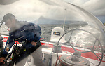 Thomas Coville and the trimaran Sodebo during a sea trial between La Trinite Sur Mer to Brest.