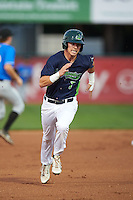 Vermont Lake Monsters outfielder Skye Bolt (7) running the bases during a game against the Hudson Valley Renegades on September 3, 2015 at Centennial Field in Burlington, Vermont.  Vermont defeated Hudson Valley 4-1.  (Mike Janes/Four Seam Images)