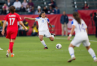 CARSON, CA - FEBRUARY 07: Stephannie Blanco #15 of Costa Rica sends a cross ball during a game between Canada and Costa Rica at Dignity Health Sports Complex on February 07, 2020 in Carson, California.